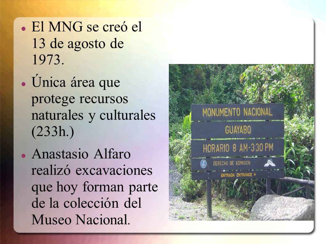 El MNG se creó el 13 de agosto de 1973. Única área que protege recursos naturales y culturales (233h.) Anastasio Alfaro realizó excavaciones que hoy f