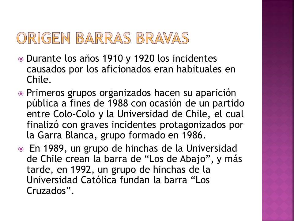 Durante los años 1910 y 1920 los incidentes causados por los aficionados eran habituales en Chile. Primeros grupos organizados hacen su aparición públ