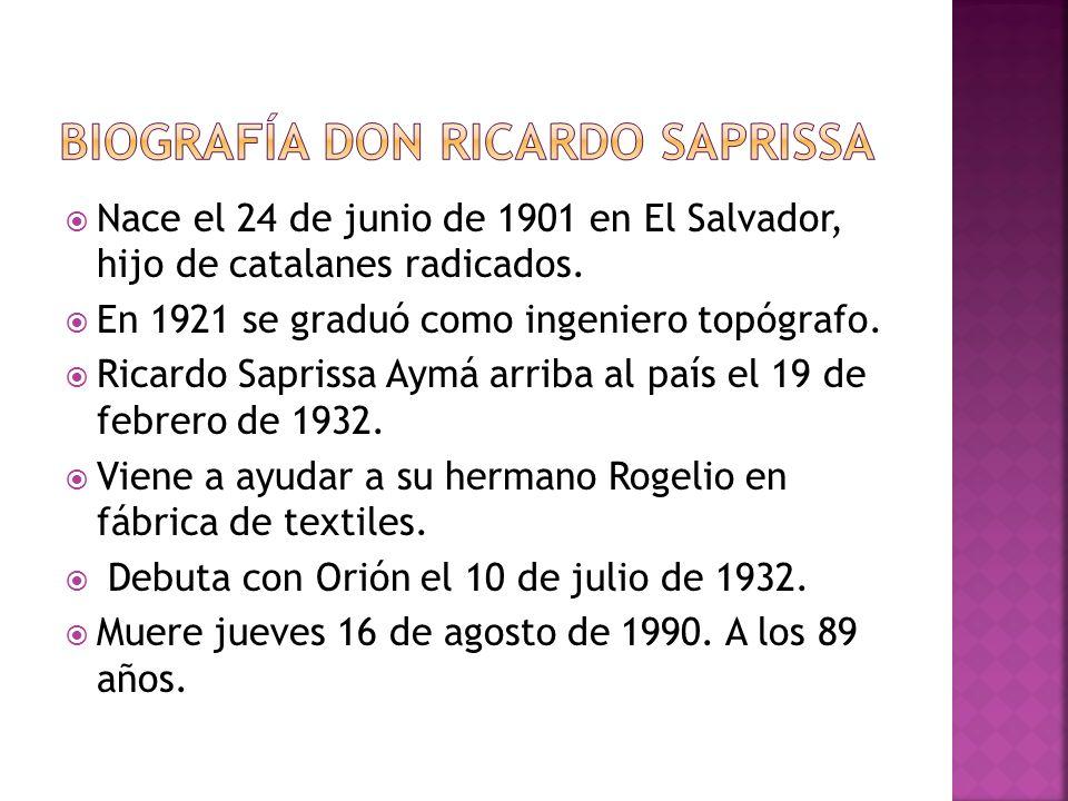 Nace el 24 de junio de 1901 en El Salvador, hijo de catalanes radicados. En 1921 se graduó como ingeniero topógrafo. Ricardo Saprissa Aymá arriba al p