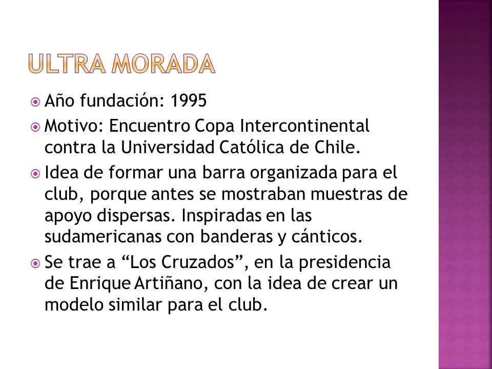 Año fundación: 1995 Motivo: Encuentro Copa Intercontinental contra la Universidad Católica de Chile. Idea de formar una barra organizada para el club,