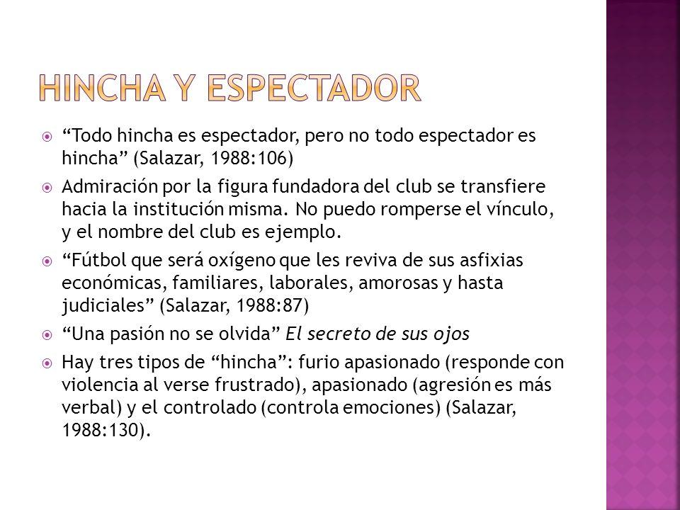 Todo hincha es espectador, pero no todo espectador es hincha (Salazar, 1988:106) Admiración por la figura fundadora del club se transfiere hacia la in