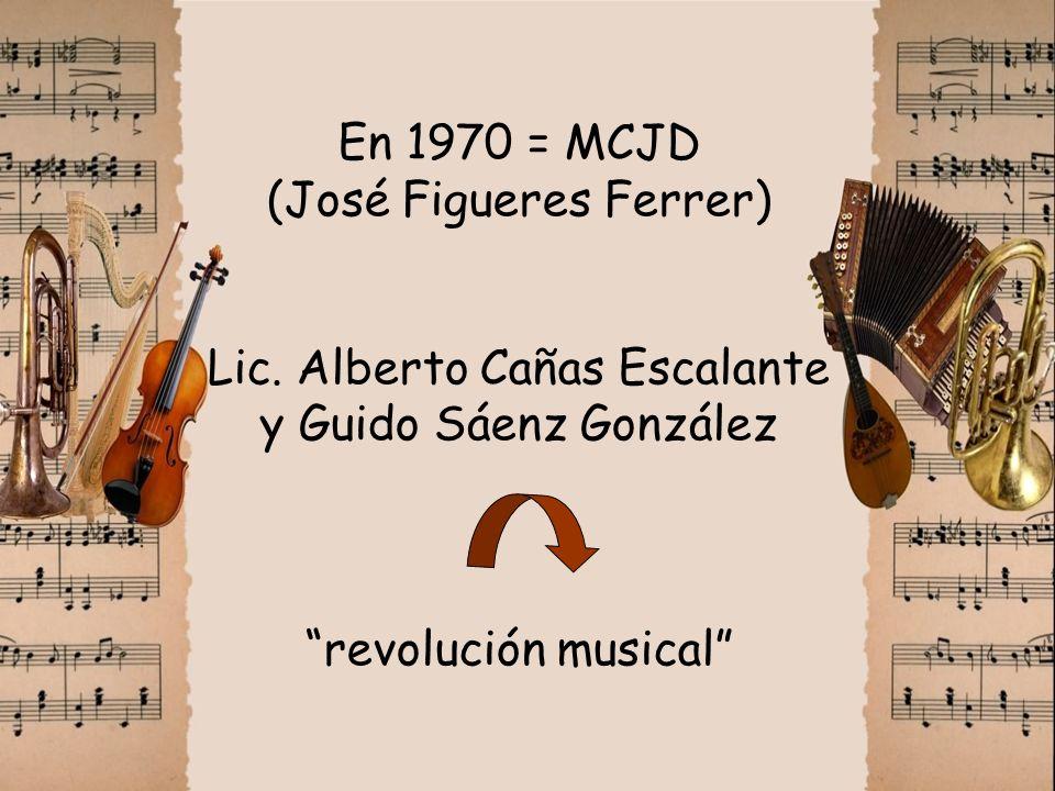 En 1970 = MCJD (José Figueres Ferrer) Lic. Alberto Cañas Escalante y Guido Sáenz González revolución musical