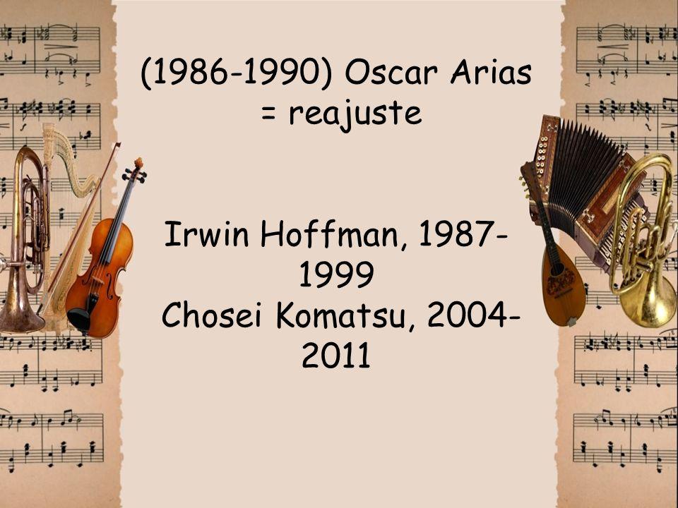 (1986-1990) Oscar Arias = reajuste Irwin Hoffman, 1987- 1999 Chosei Komatsu, 2004- 2011