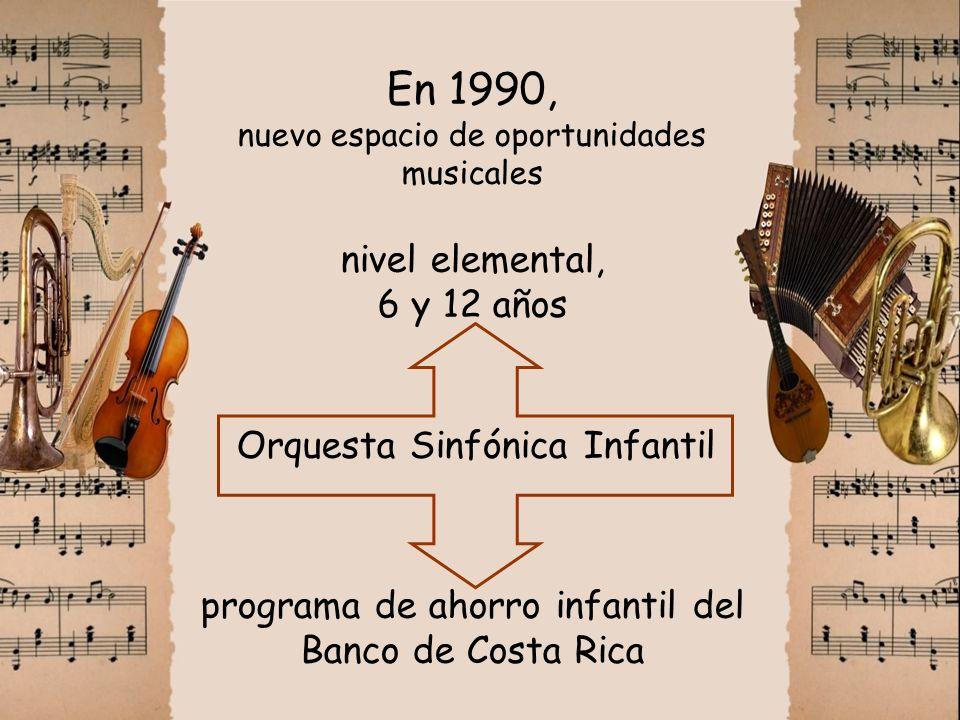 En 1990, nuevo espacio de oportunidades musicales nivel elemental, 6 y 12 años Orquesta Sinfónica Infantil programa de ahorro infantil del Banco de Co