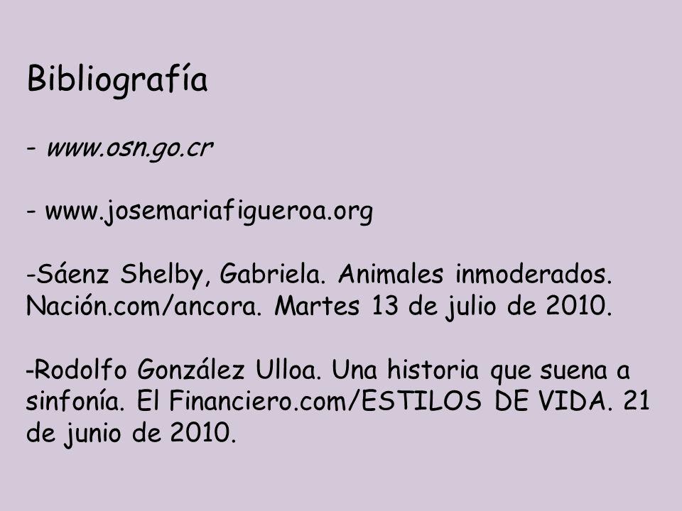 Bibliografía - www.osn.go.cr - www.josemariafigueroa.org -Sáenz Shelby, Gabriela. Animales inmoderados. Nación.com/ancora. Martes 13 de julio de 2010.