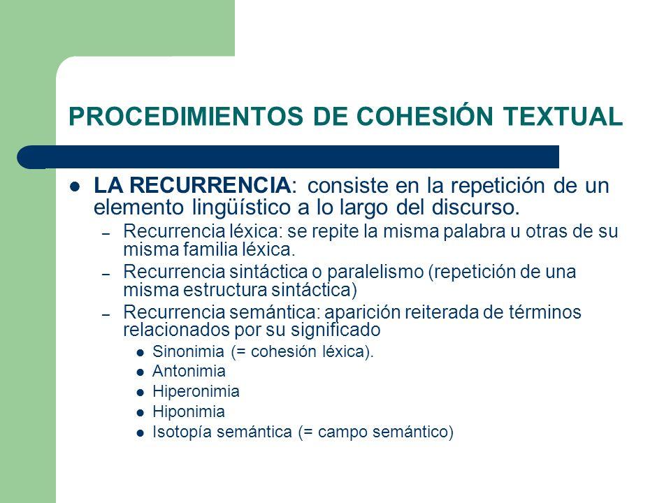 PROCEDIMIENTOS DE COHESIÓN TEXTUAL LA RECURRENCIA: consiste en la repetición de un elemento lingüístico a lo largo del discurso. – Recurrencia léxica: