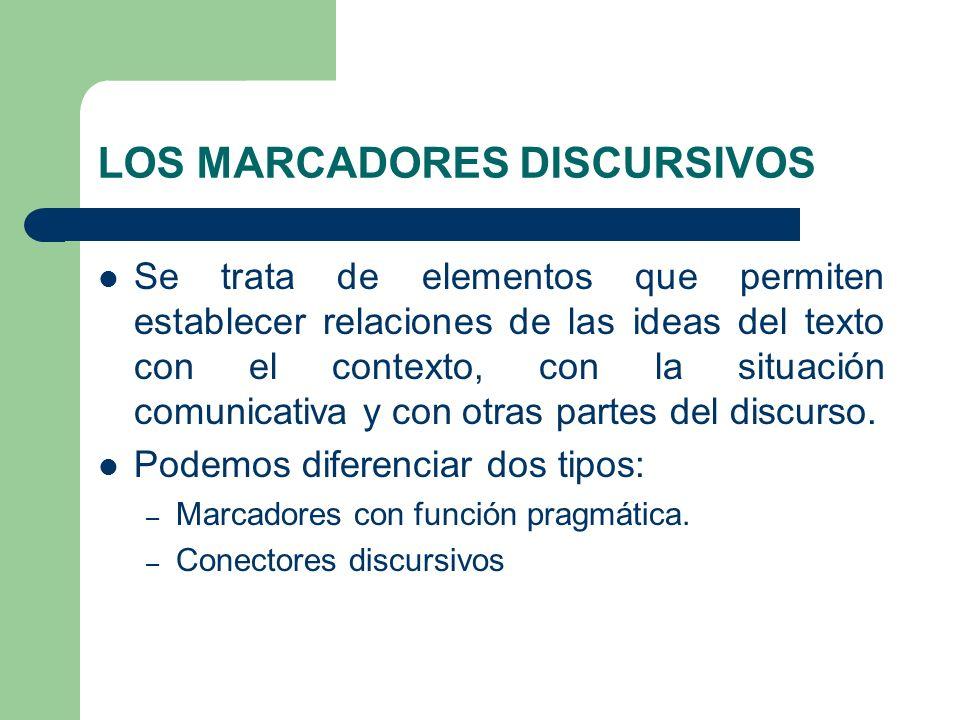 LOS MARCADORES DISCURSIVOS Se trata de elementos que permiten establecer relaciones de las ideas del texto con el contexto, con la situación comunicat
