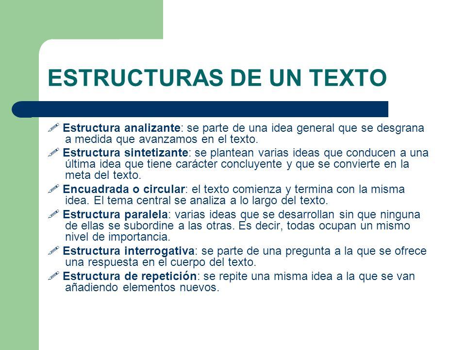 ESTRUCTURAS DE UN TEXTO Estructura analizante: se parte de una idea general que se desgrana a medida que avanzamos en el texto. Estructura sintetizant