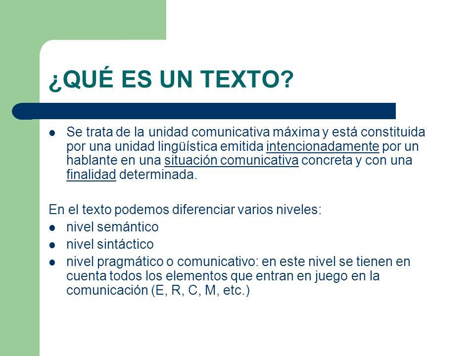 PROPIEDADES TEXTUALES No toda secuencia de elementos lingüísticos forma un texto.
