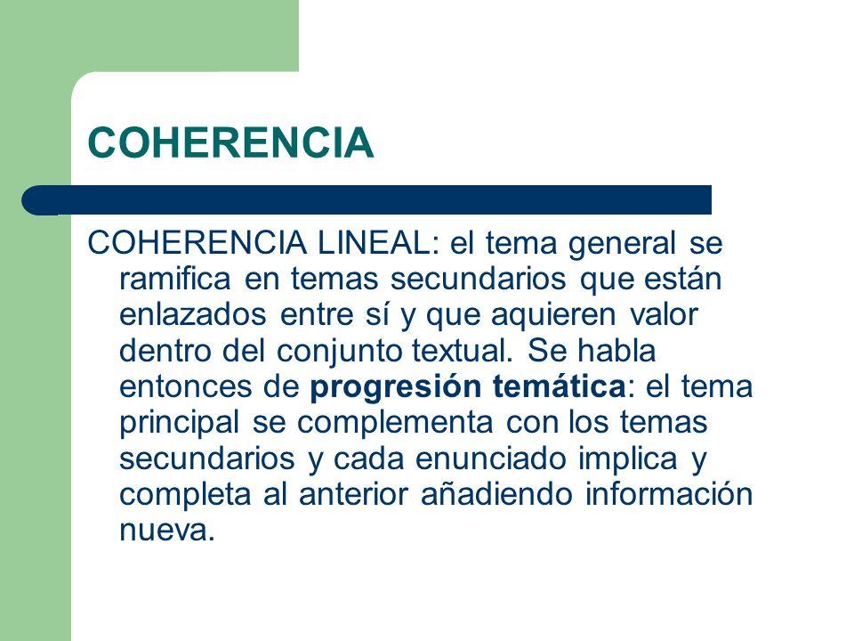 COHERENCIA COHERENCIA LINEAL: el tema general se ramifica en temas secundarios que están enlazados entre sí y que aquieren valor dentro del conjunto t