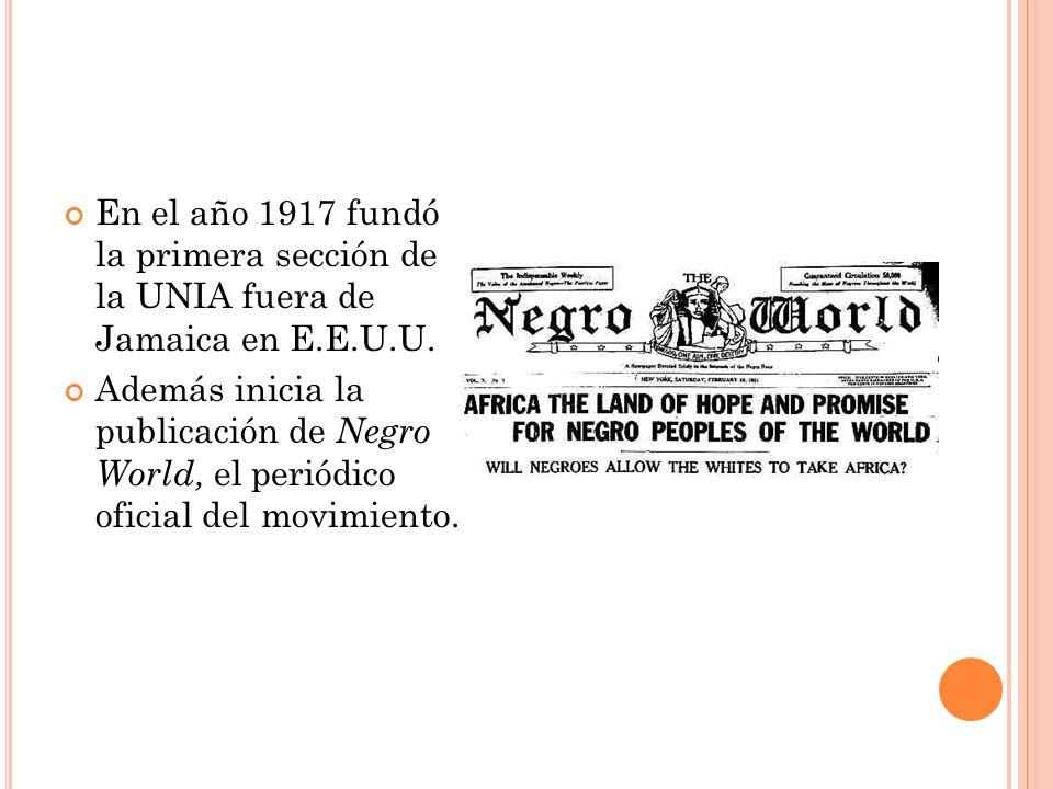 En el año 1919 fundó la Black Star Line, una compañía naviera que pretendía retornar a África a todos los negros acólitos del movimiento de Garvey.