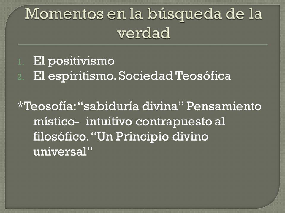 1. El positivismo 2. El espiritismo.