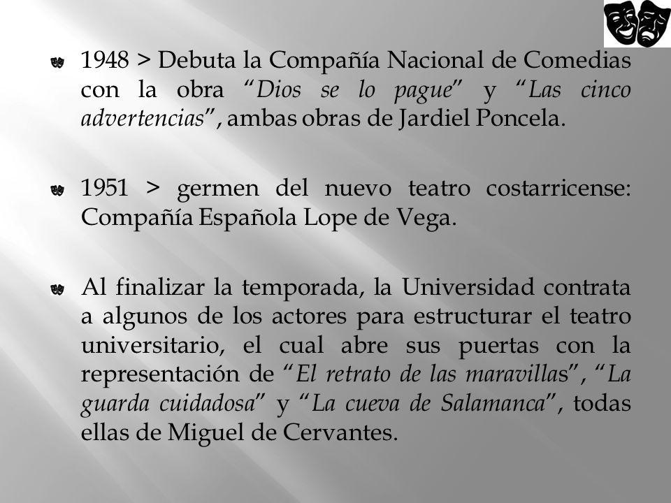 1948 > Debuta la Compañía Nacional de Comedias con la obra Dios se lo pague y Las cinco advertencias, ambas obras de Jardiel Poncela. 1951 > germen de