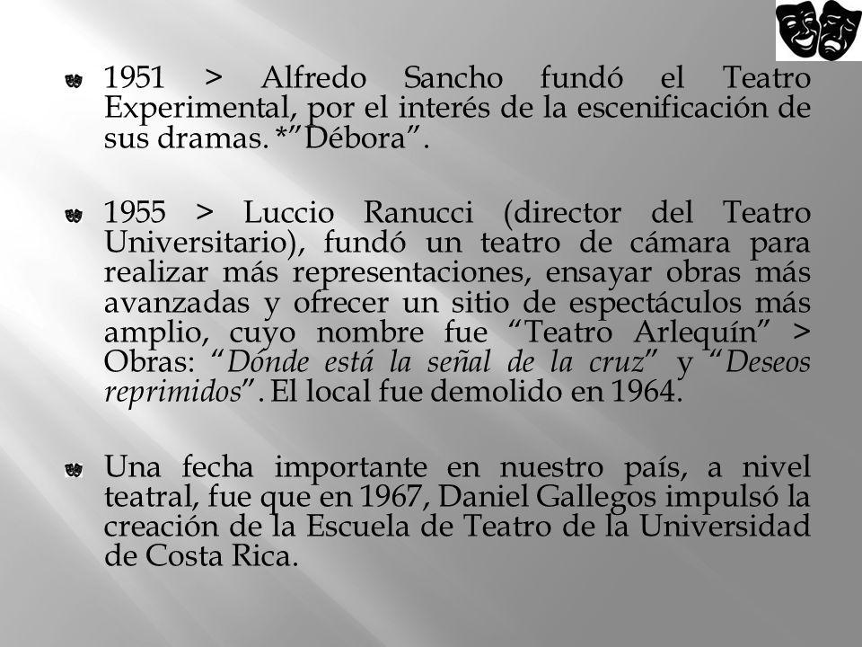 1951 > Alfredo Sancho fundó el Teatro Experimental, por el interés de la escenificación de sus dramas. *Débora. 1955 > Luccio Ranucci (director del Te