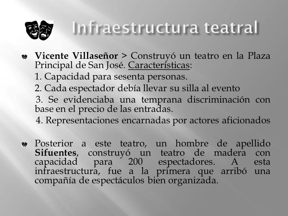 Vicente Villaseñor > Construyó un teatro en la Plaza Principal de San José. Características: 1. Capacidad para sesenta personas. 2. Cada espectador de