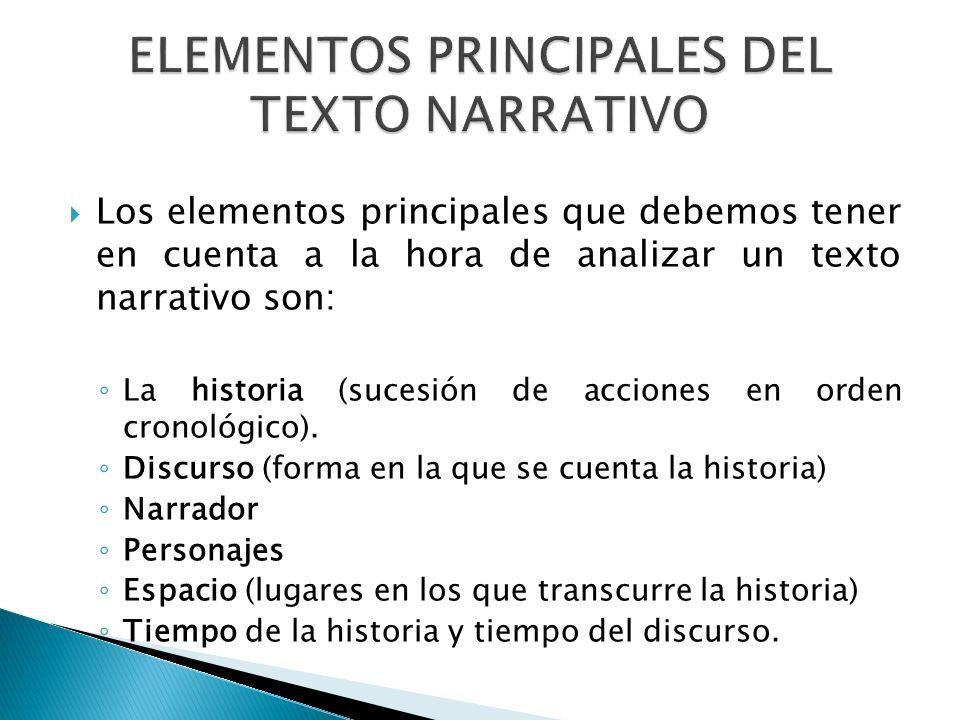 Los elementos principales que debemos tener en cuenta a la hora de analizar un texto narrativo son: La historia (sucesión de acciones en orden cronoló