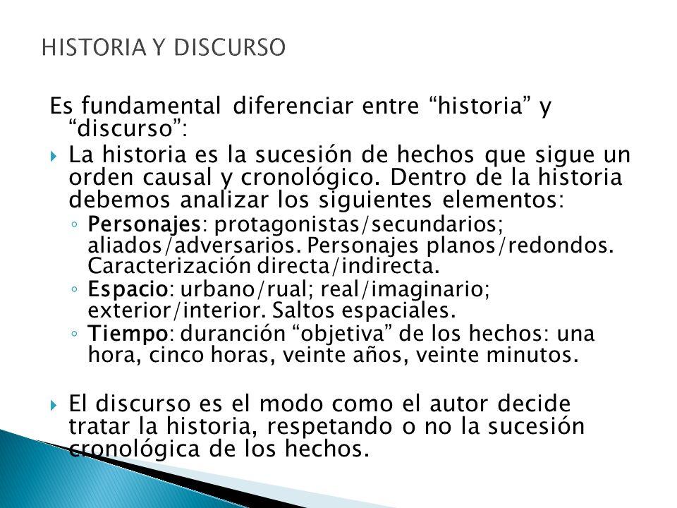 HISTORIA Y DISCURSO Es fundamental diferenciar entre historia y discurso: La historia es la sucesión de hechos que sigue un orden causal y cronológico