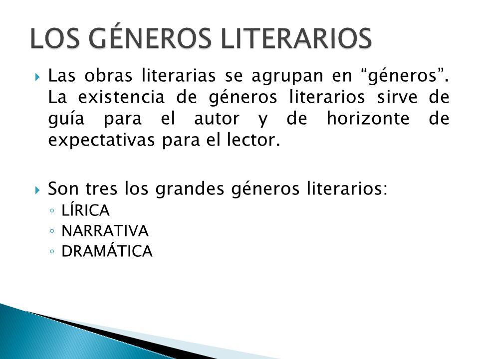 Las obras literarias se agrupan en géneros. La existencia de géneros literarios sirve de guía para el autor y de horizonte de expectativas para el lec