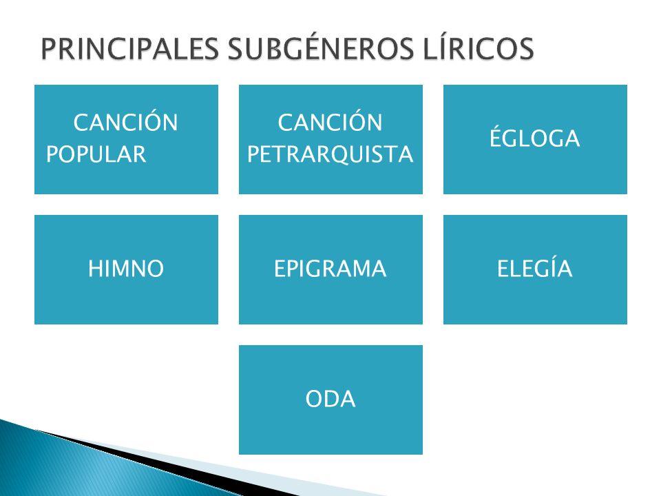 CANCIÓN POPULAR CANCIÓN PETRARQUISTA ÉGLOGA HIMNOEPIGRAMAELEGÍA ODA PRINCIPALES SUBGÉNEROS LÍRICOS