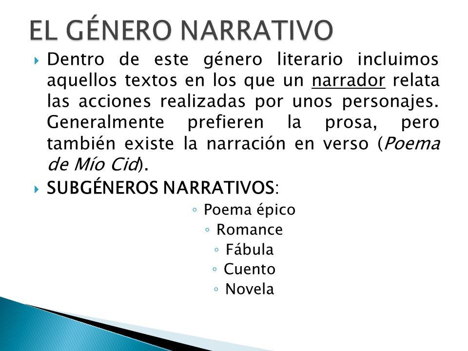 Dentro de este género literario incluimos aquellos textos en los que un narrador relata las acciones realizadas por unos personajes. Generalmente pref