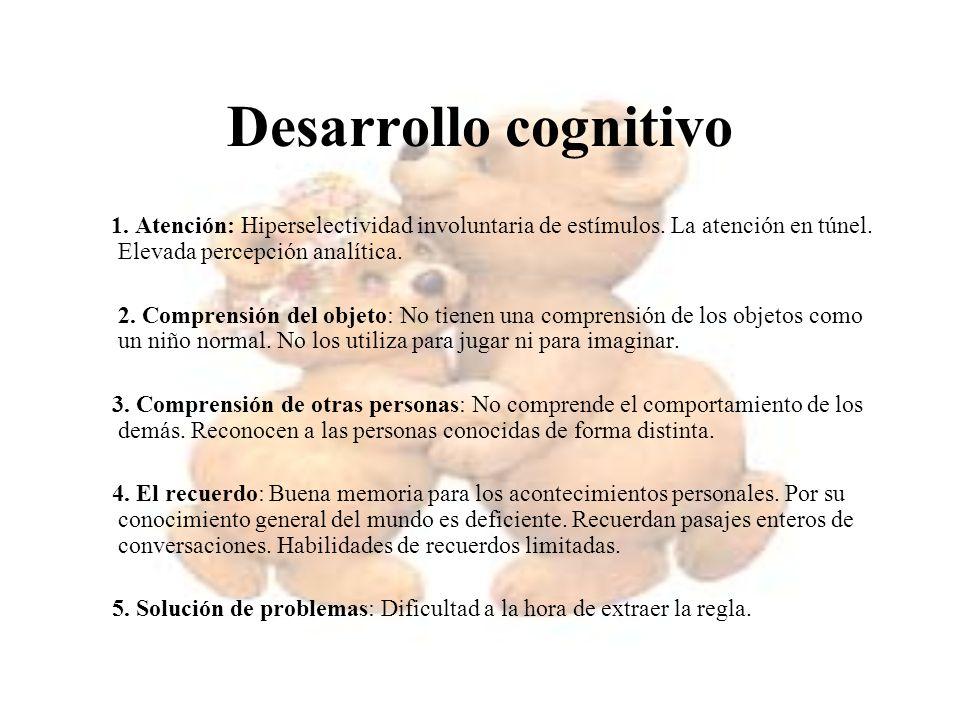 Desarrollo cognitivo 1. Atención: Hiperselectividad involuntaria de estímulos. La atención en túnel. Elevada percepción analítica. 2. Comprensión del
