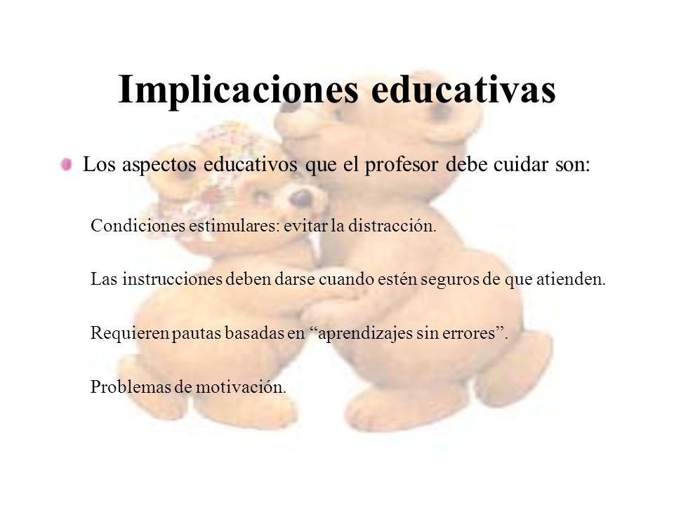 Implicaciones educativas Los aspectos educativos que el profesor debe cuidar son: Condiciones estimulares: evitar la distracción. Las instrucciones de