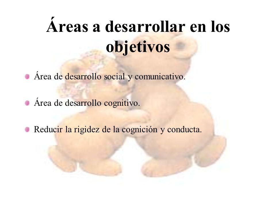 Áreas a desarrollar en los objetivos Área de desarrollo social y comunicativo. Área de desarrollo cognitivo. Reducir la rigidez de la cognición y cond