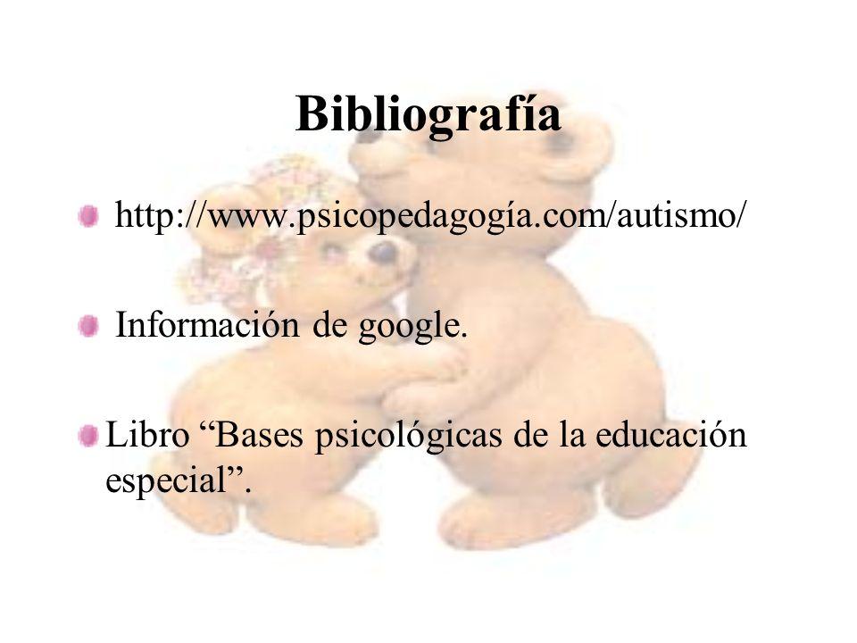 Bibliografía http://www.psicopedagogía.com/autismo/ Información de google. Libro Bases psicológicas de la educación especial.