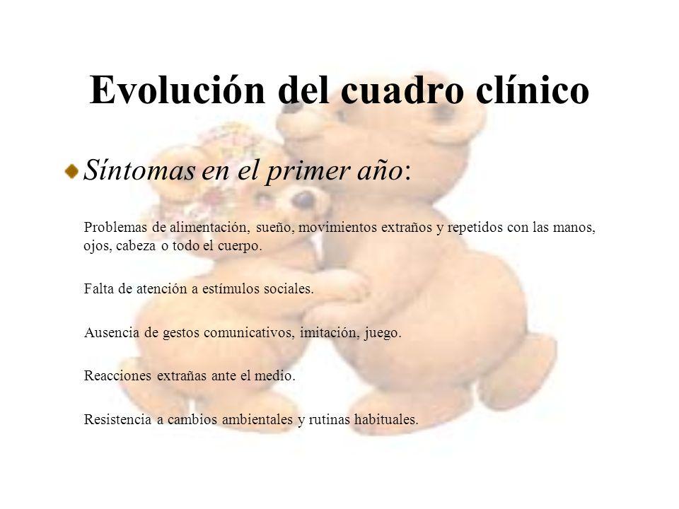 Evolución del cuadro clínico Síntomas en el primer año: Problemas de alimentación, sueño, movimientos extraños y repetidos con las manos, ojos, cabeza