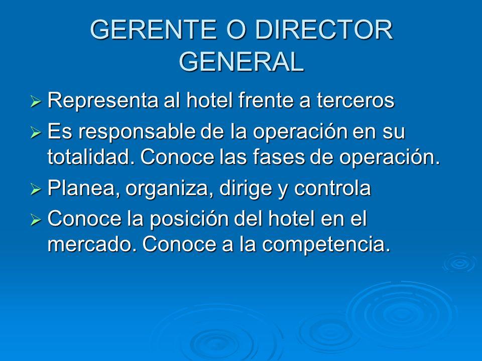 GERENTE O DIRECTOR GENERAL Representa al hotel frente a terceros Representa al hotel frente a terceros Es responsable de la operación en su totalidad.
