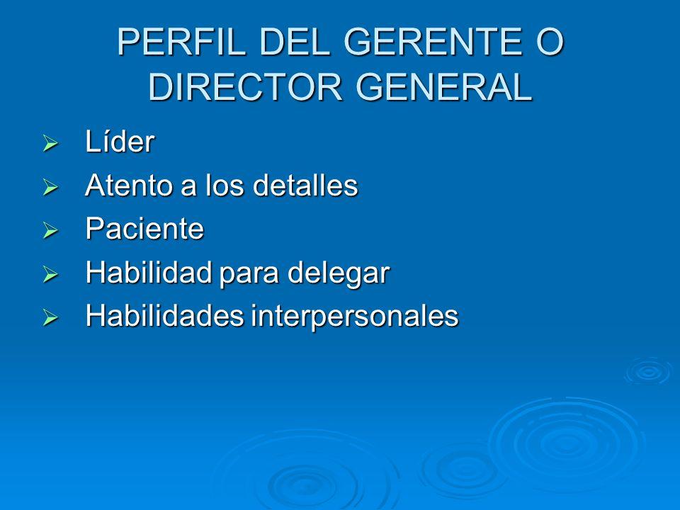 PERFIL DEL GERENTE O DIRECTOR GENERAL Líder Líder Atento a los detalles Atento a los detalles Paciente Paciente Habilidad para delegar Habilidad para