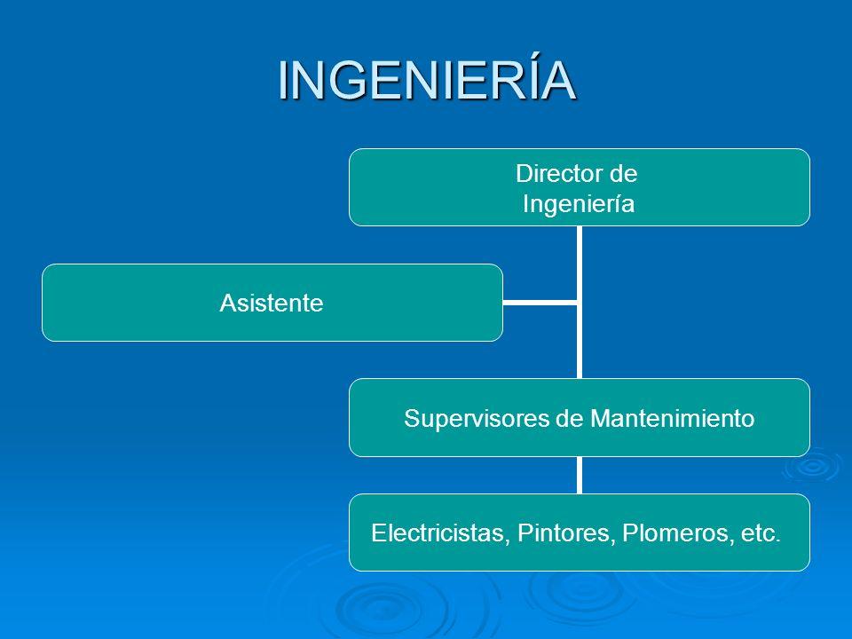 INGENIERÍA Director de Ingeniería Supervisores de Mantenimiento Electricistas, Pintores, Plomeros, etc. Asistente
