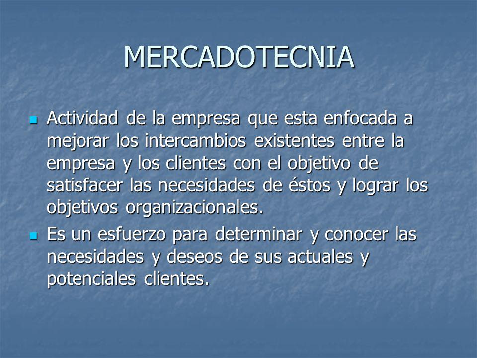 MERCADOTECNIA Actividad de la empresa que esta enfocada a mejorar los intercambios existentes entre la empresa y los clientes con el objetivo de satis