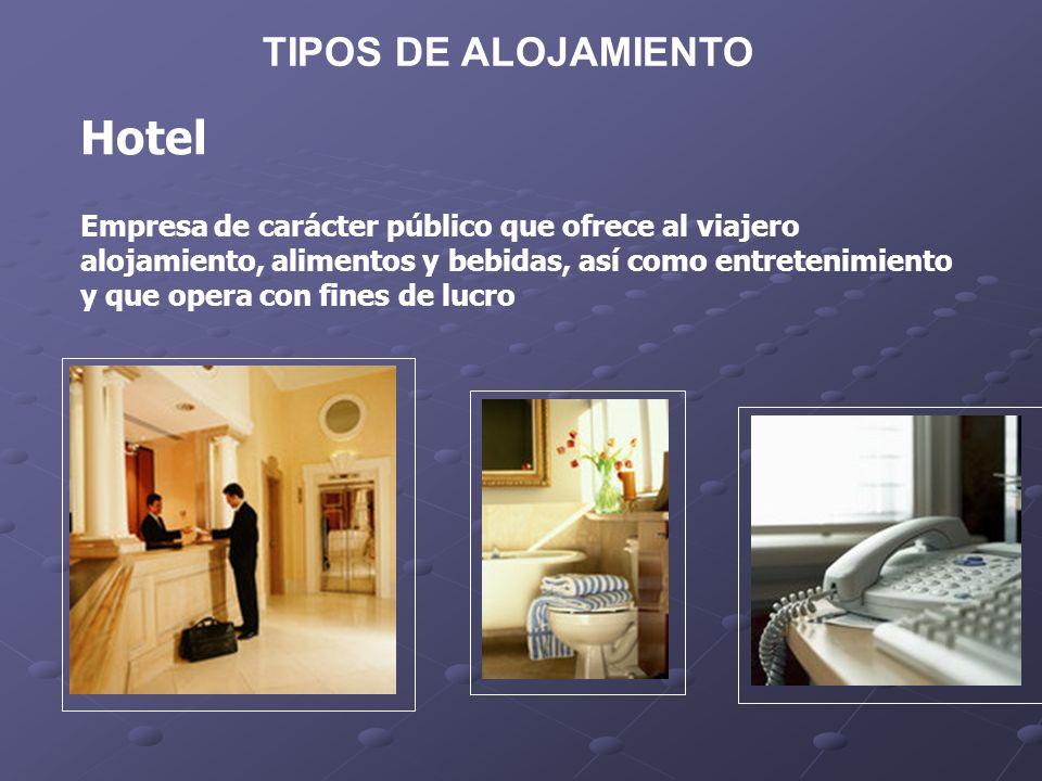 Tipos de alojamiento Hoteles-Apartamentos: habitaciones Disponen de instalaciones adecuadas para conservación, elaboración y consumo de alimentos, se rentan x semana, quincena o mes.