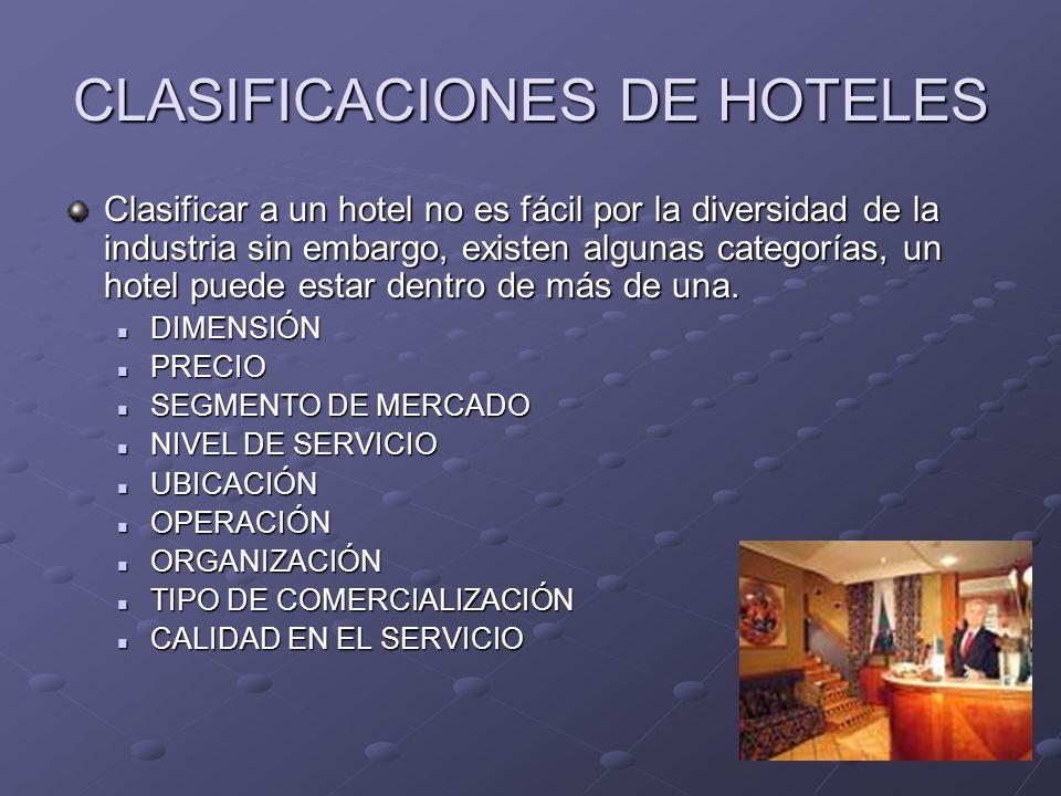 CLASIFICACIONES DE HOTELES Clasificar a un hotel no es fácil por la diversidad de la industria sin embargo, existen algunas categorías, un hotel puede