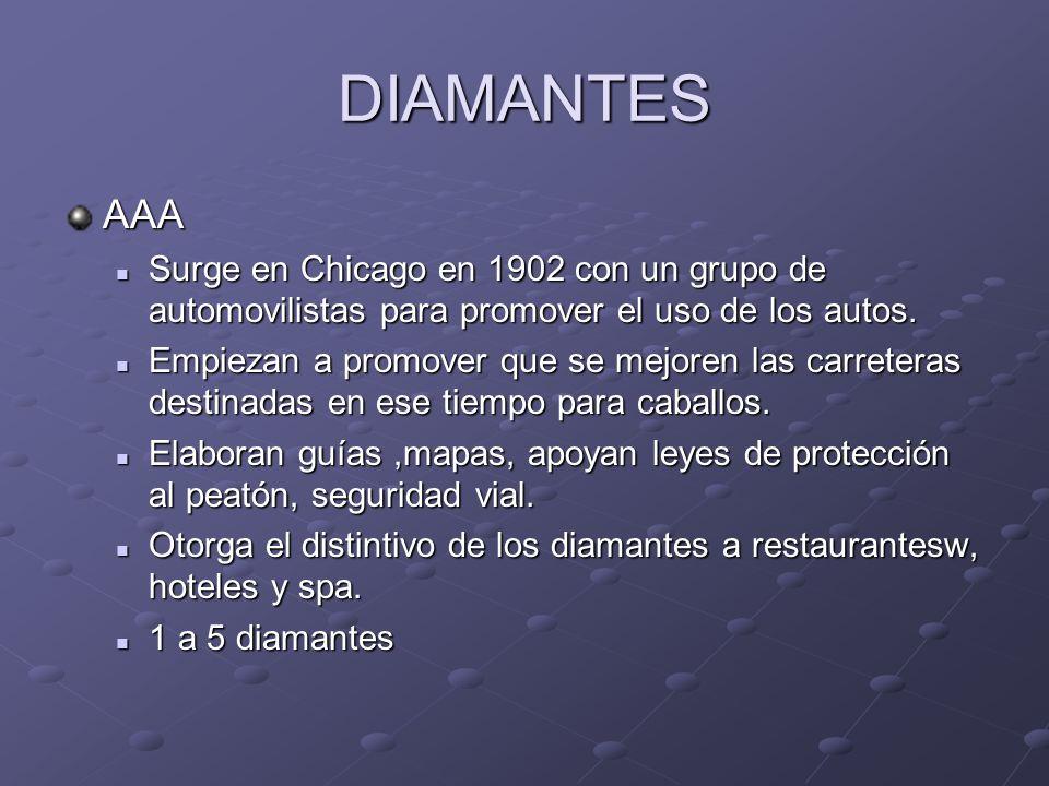 DIAMANTES AAA Surge en Chicago en 1902 con un grupo de automovilistas para promover el uso de los autos. Surge en Chicago en 1902 con un grupo de auto