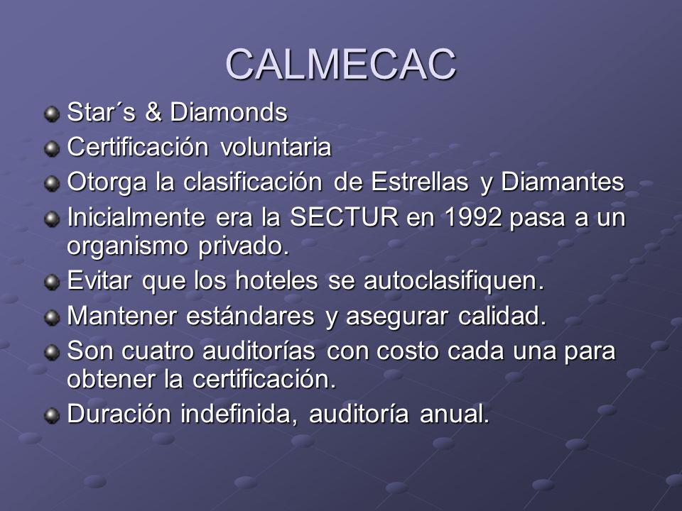 CALMECAC Star´s & Diamonds Certificación voluntaria Otorga la clasificación de Estrellas y Diamantes Inicialmente era la SECTUR en 1992 pasa a un orga