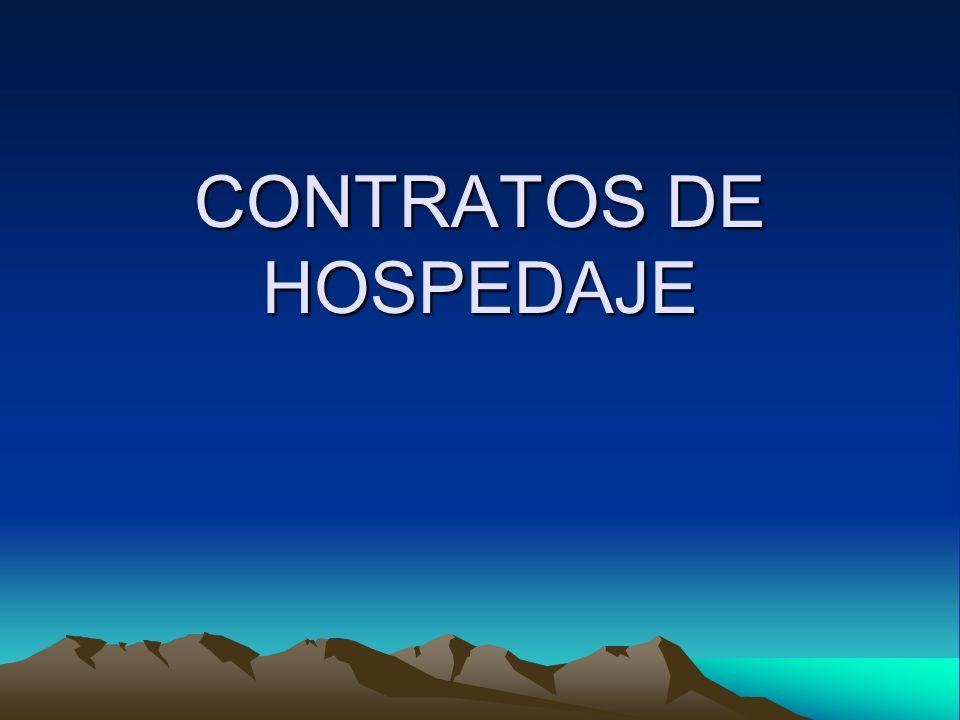 CONTRATO DE HOSPEDAJE ES EL ACUERDO EXPRESO ENTRE EL HOTELERO QUE PROPORCIONA EL SERVICIO DE ALOJAMIENTO Y EL USUARIO, HUÉSPED, QUE PAGA POR ELLO UNA TARIFA DETERMINADA.