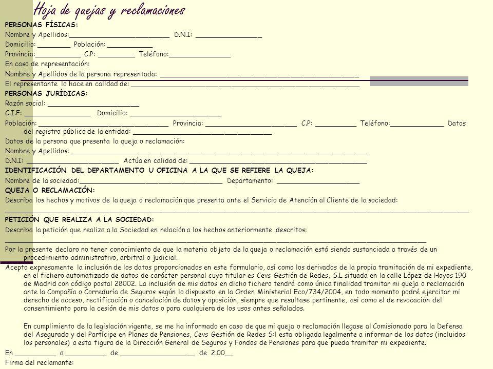 Hoja de quejas y reclamaciones PERSONAS FÍSICAS: Nombre y Apellidos:________________________ D.N.I: ________________ Domicilio: ________ Población: __