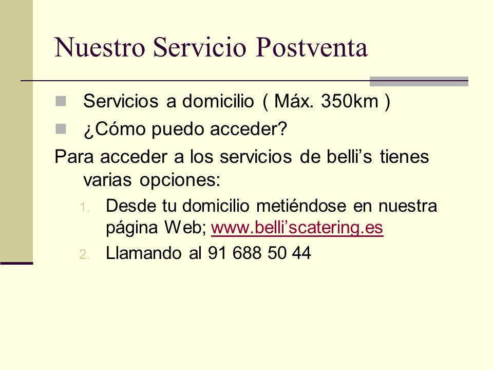 Nuestro Servicio Postventa Servicios a domicilio ( Máx.