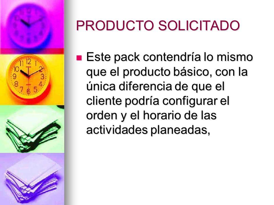 PRODUCTO SOLICITADO Este pack contendría lo mismo que el producto básico, con la única diferencia de que el cliente podría configurar el orden y el ho
