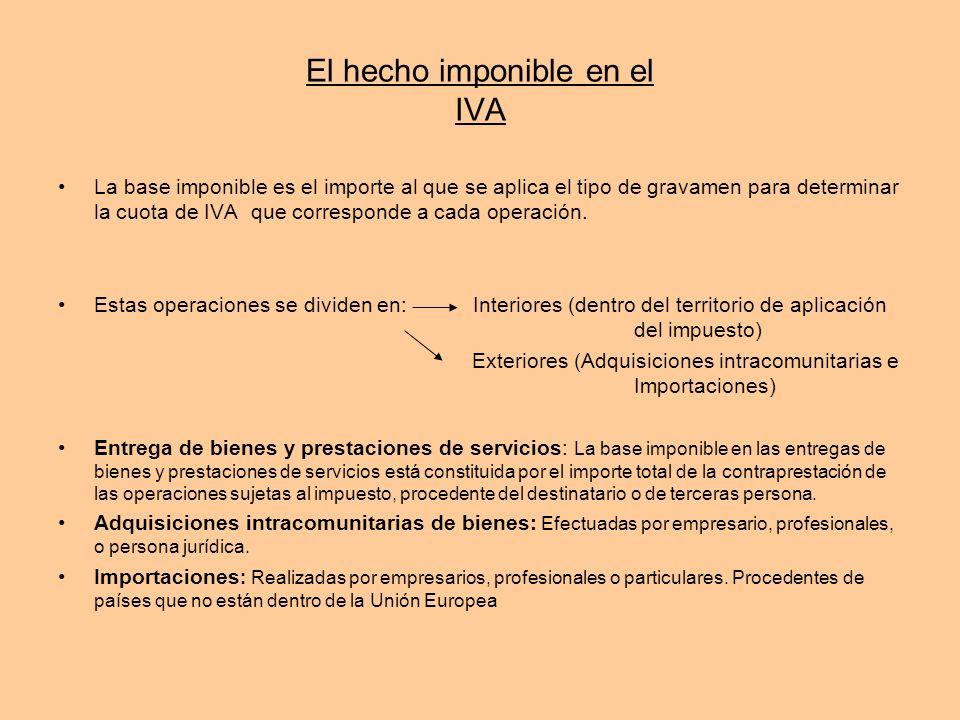 El hecho imponible en el IVA La base imponible es el importe al que se aplica el tipo de gravamen para determinar la cuota de IVA que corresponde a ca