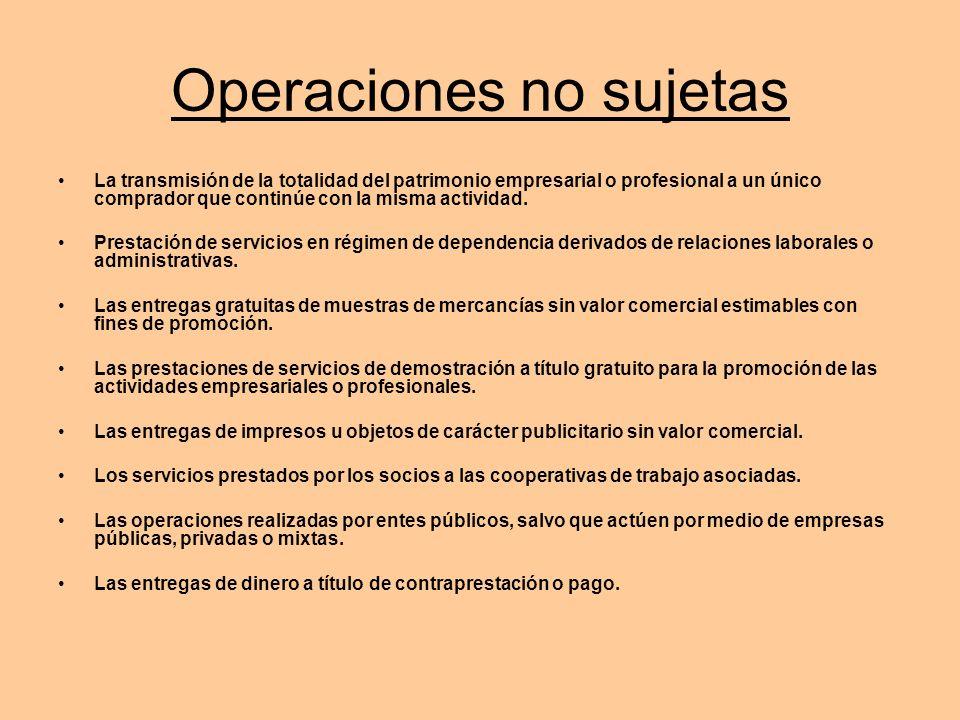 Operaciones Exentas Algunas de las operaciones exentas de IVA son: –Medicina y sanidad: servicios hospitalarios, médicos, ATS, odontólogos, protésicos dentales, transporte de enfermos, psicólogos, etc.