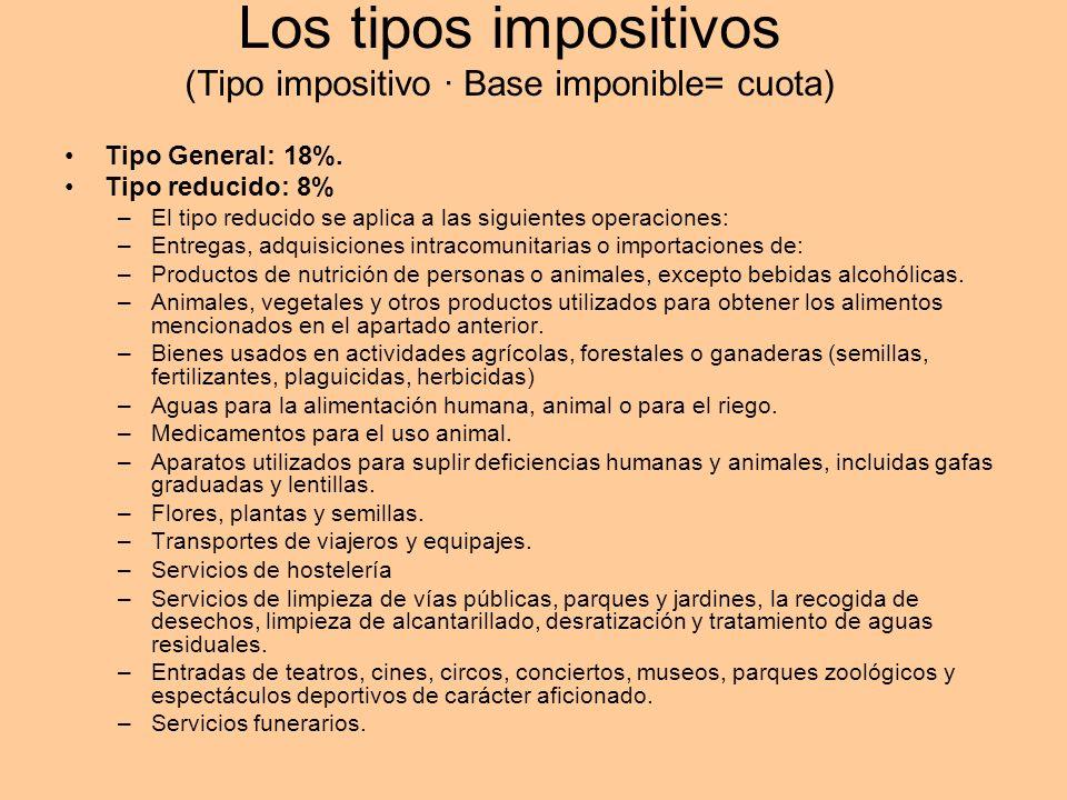 Los tipos impositivos (Tipo impositivo · Base imponible= cuota) Tipo General: 18%. Tipo reducido: 8% –El tipo reducido se aplica a las siguientes oper