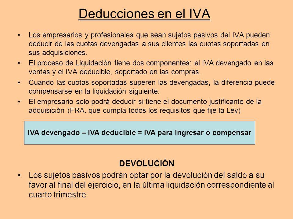 Deducciones en el IVA Los empresarios y profesionales que sean sujetos pasivos del IVA pueden deducir de las cuotas devengadas a sus clientes las cuot