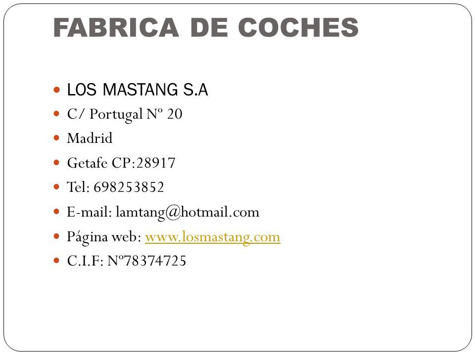 FABRICA DE COCHES LOS MASTANG S.A C/ Portugal Nº 20 Madrid Getafe CP:28917 Tel: 698253852 E-mail: lamtang@hotmail.com Página web: www.losmastang.comww