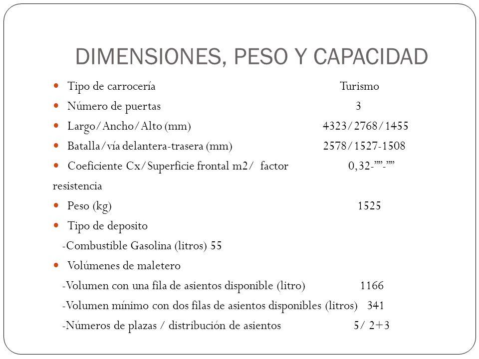 DIMENSIONES, PESO Y CAPACIDAD Tipo de carrocería Turismo Número de puertas 3 Largo/Ancho/Alto (mm) 4323/2768/1455 Batalla/vía delantera-trasera (mm) 2