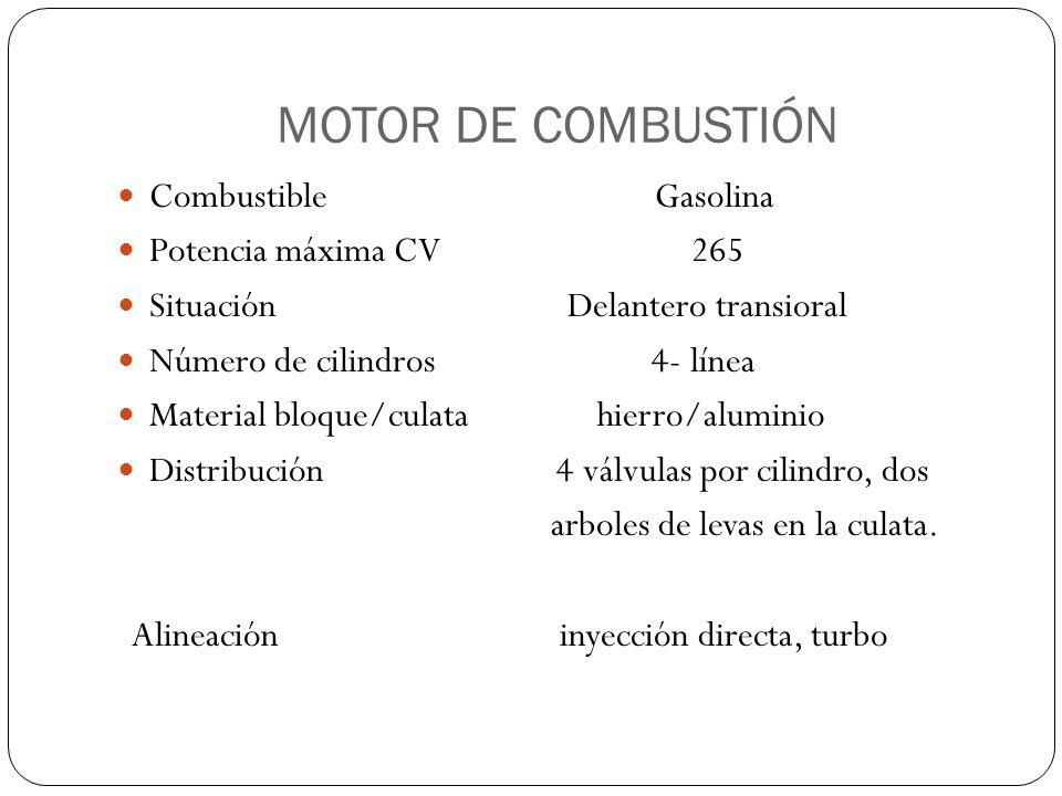 MOTOR DE COMBUSTIÓN Combustible Gasolina Potencia máxima CV 265 Situación Delantero transioral Número de cilindros 4- línea Material bloque/culata hie