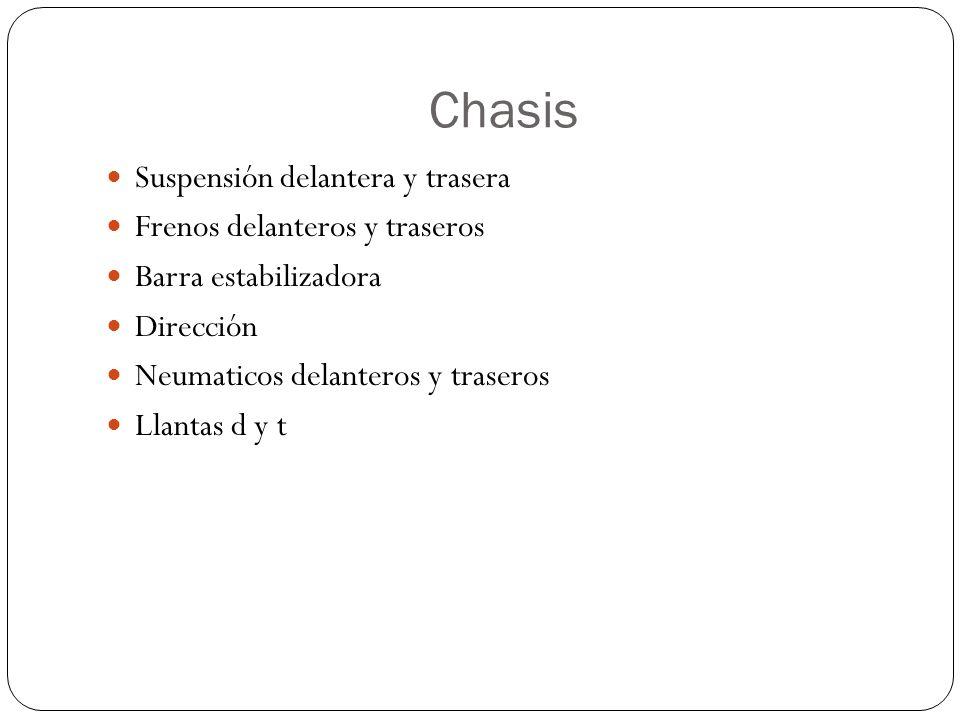 Chasis Suspensión delantera y trasera Frenos delanteros y traseros Barra estabilizadora Dirección Neumaticos delanteros y traseros Llantas d y t