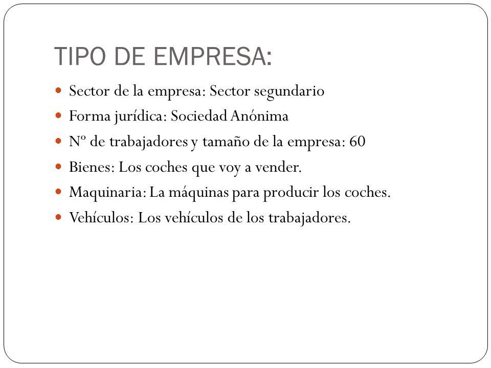 TIPO DE EMPRESA: Sector de la empresa: Sector segundario Forma jurídica: Sociedad Anónima Nº de trabajadores y tamaño de la empresa: 60 Bienes: Los co